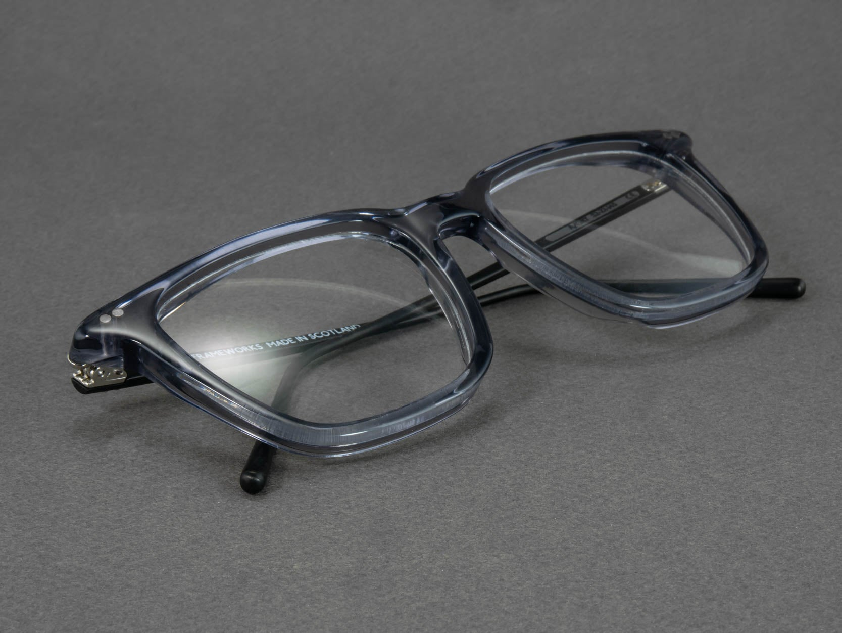 large grey glasses frame close up