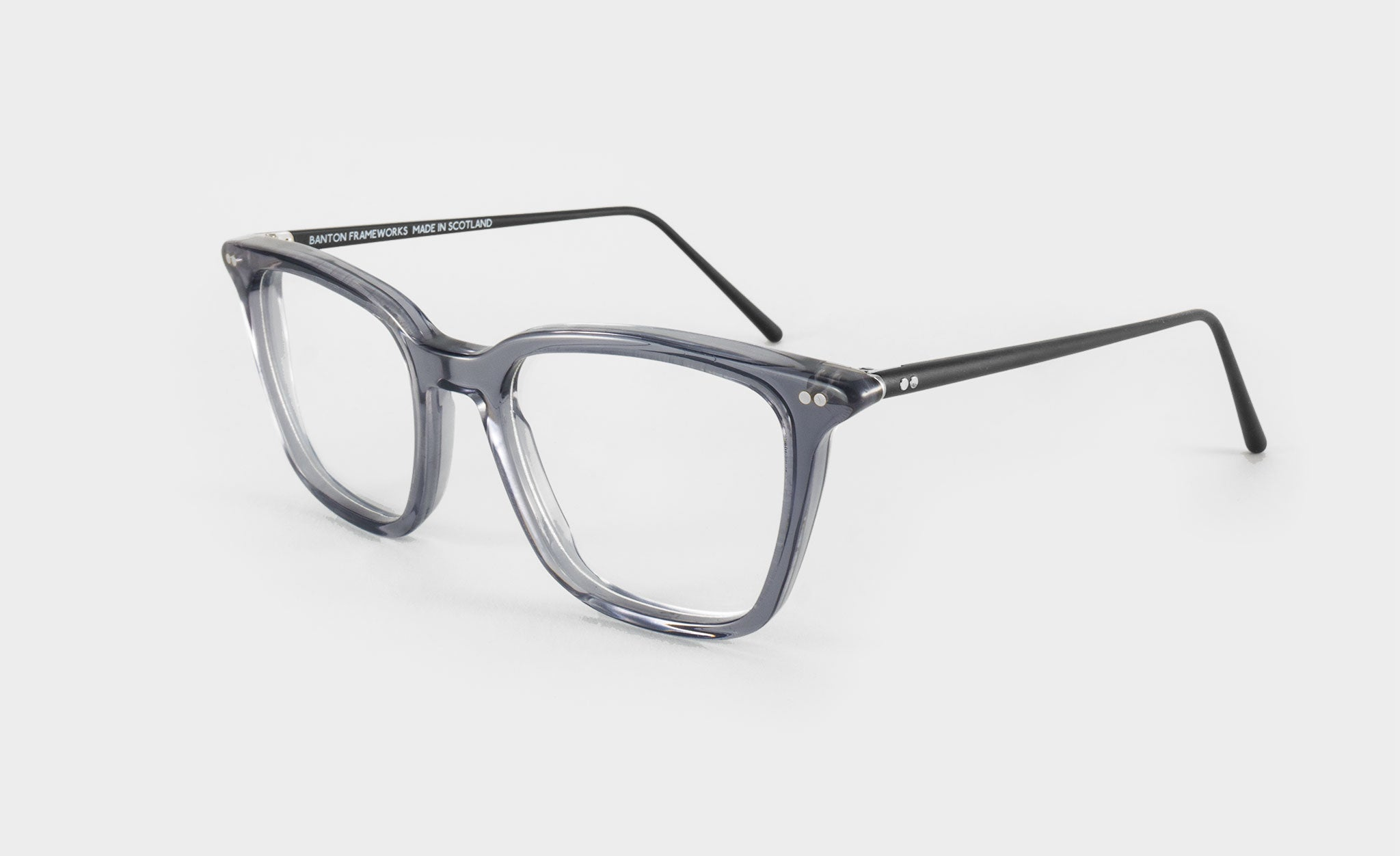 large grey glasses frame side view