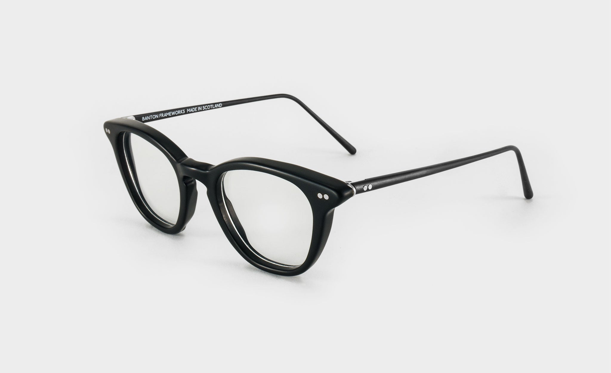 matte black glasses frame side view