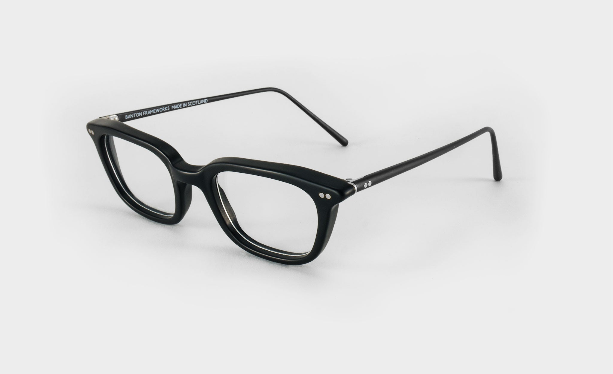 mens black rectangle glasses side view