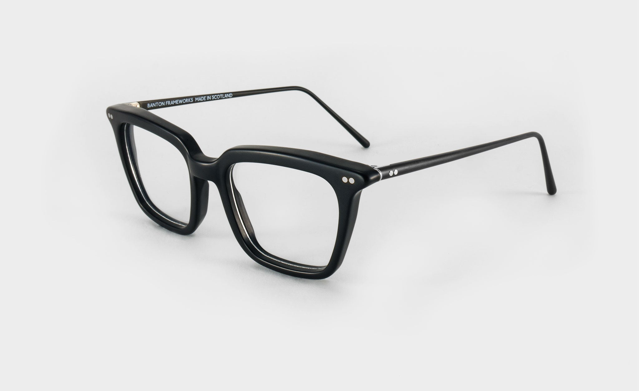 mens black rectangular glasses side view