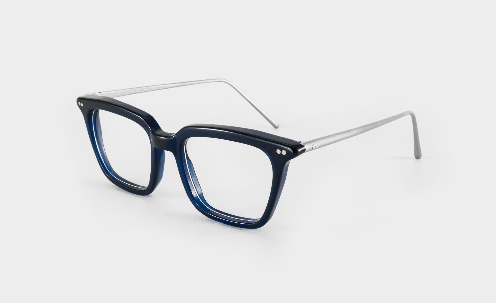 mens blue glasses frame square side view
