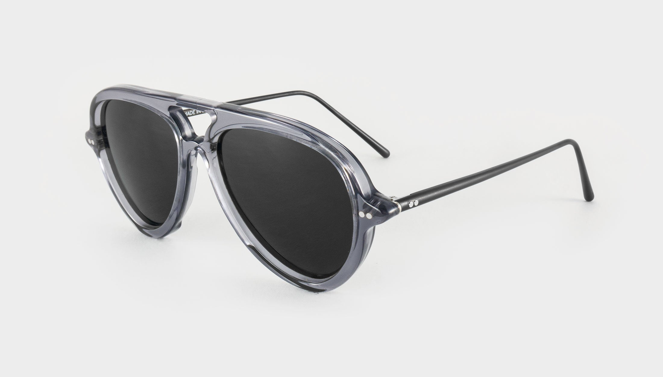 mens grey polarised aviator sunglasses side view