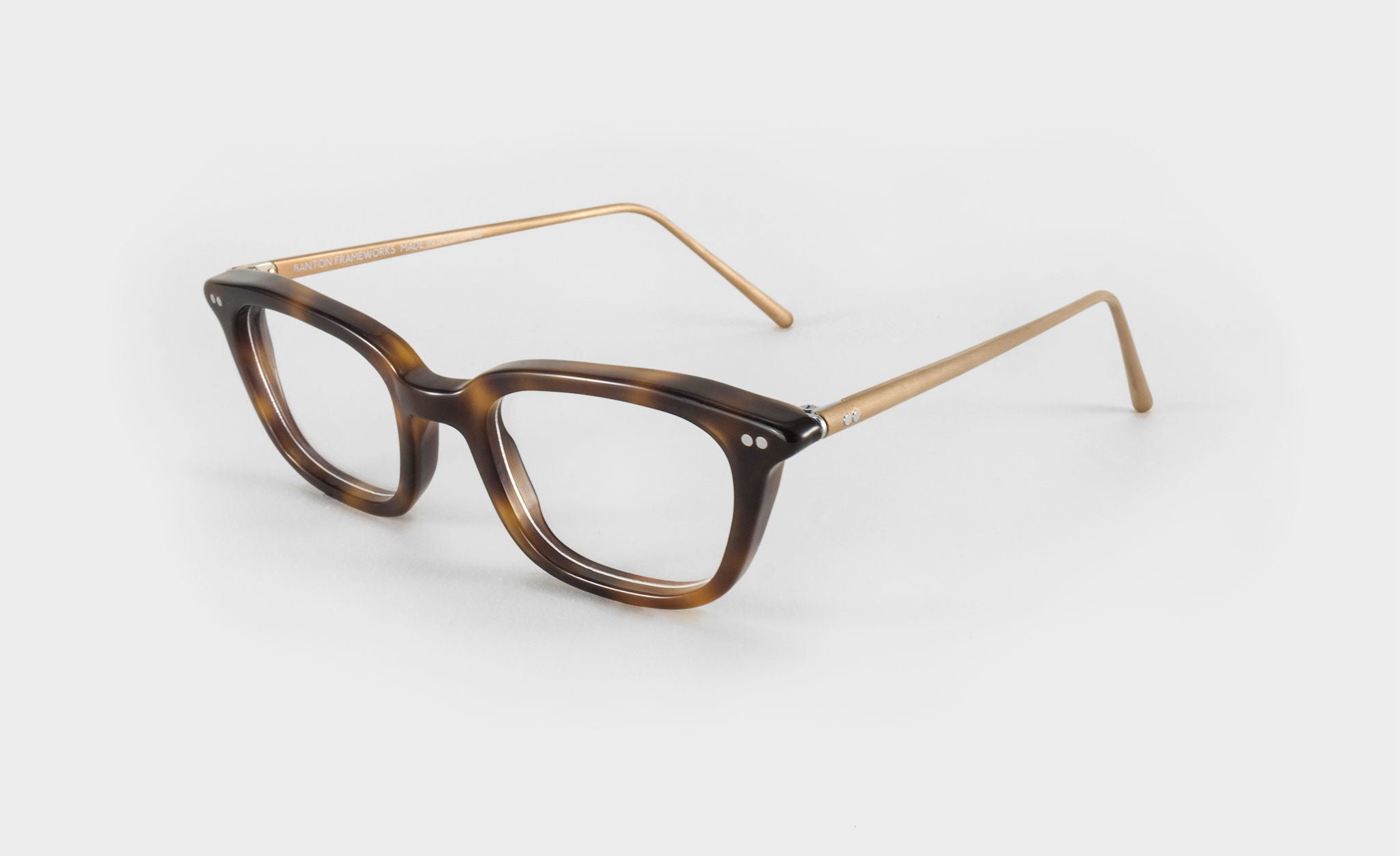 rectangular tortoise shell glasses frame side view