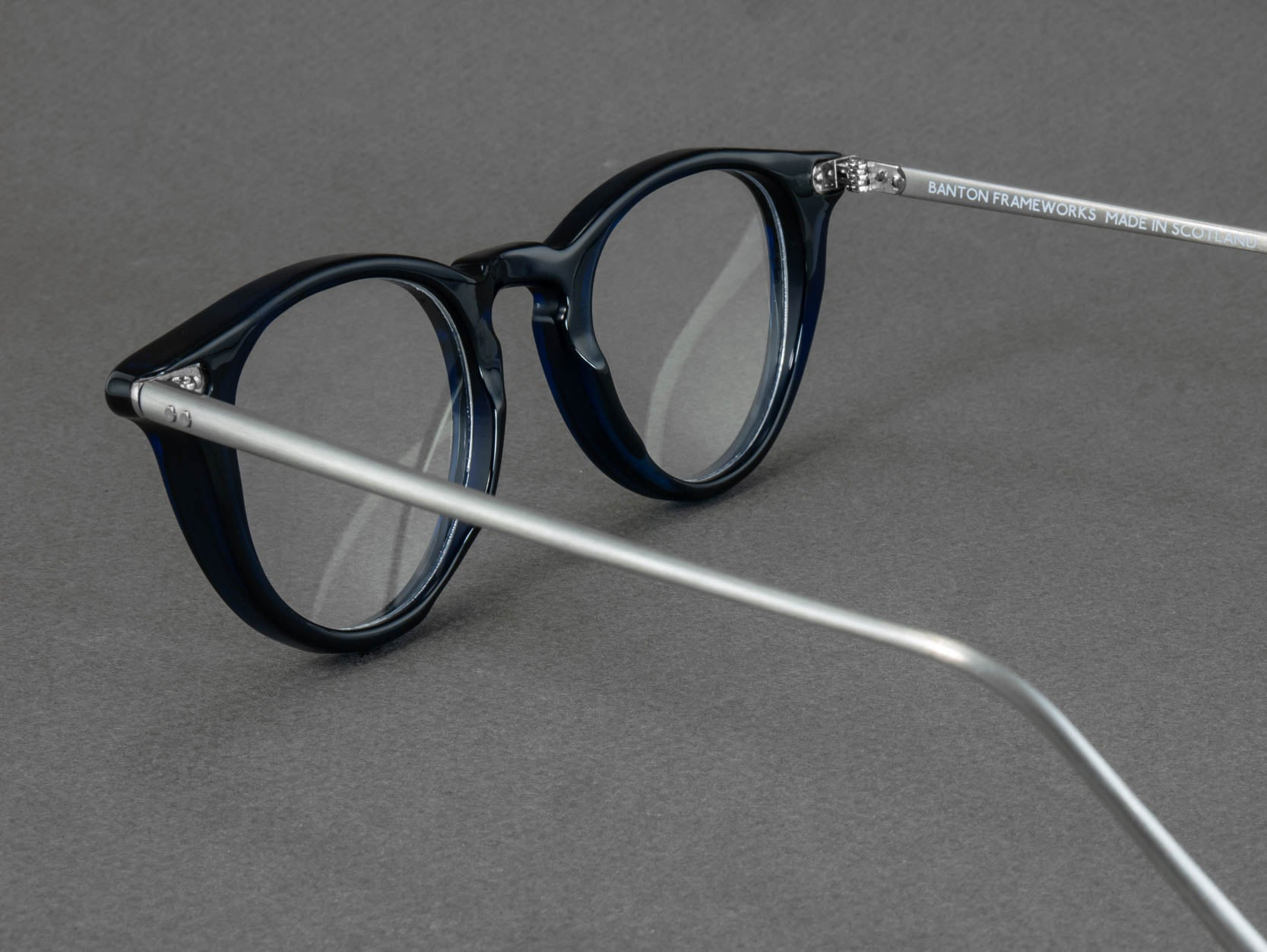 round blue glasses frame aerial view