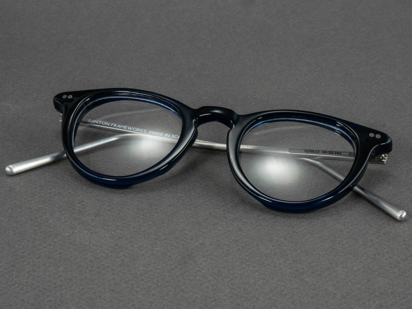 round blue glasses frame folded