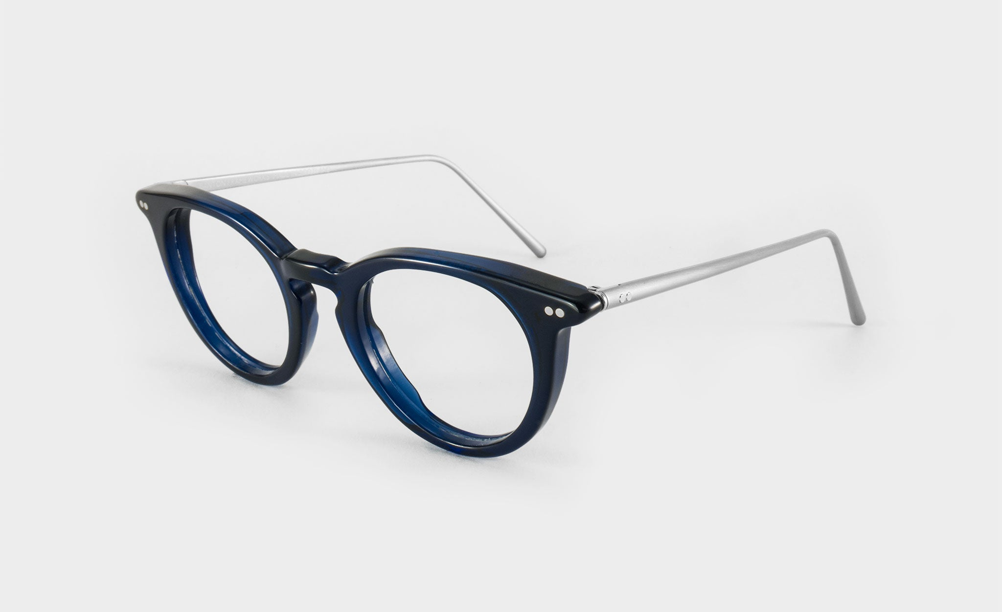 round blue glasses frame side view