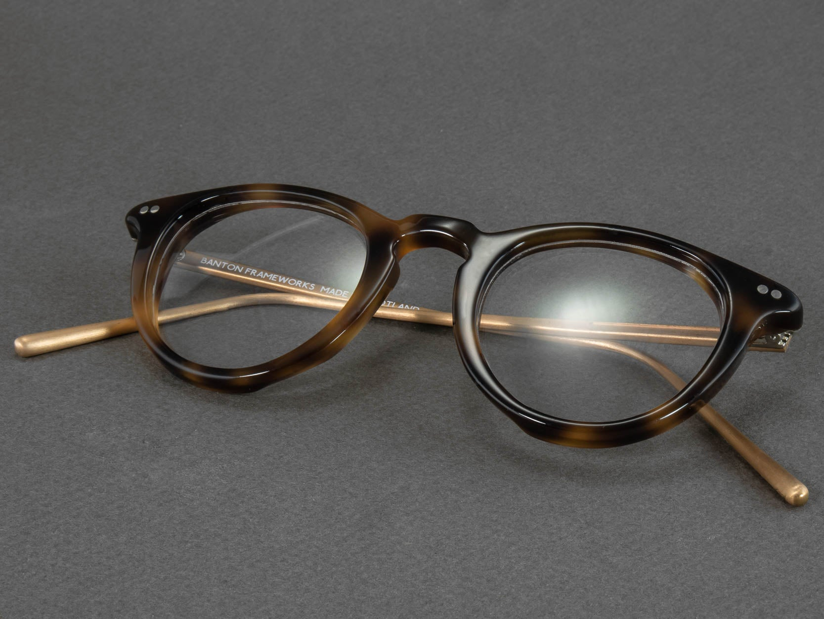 round tortoise shell glasses folded