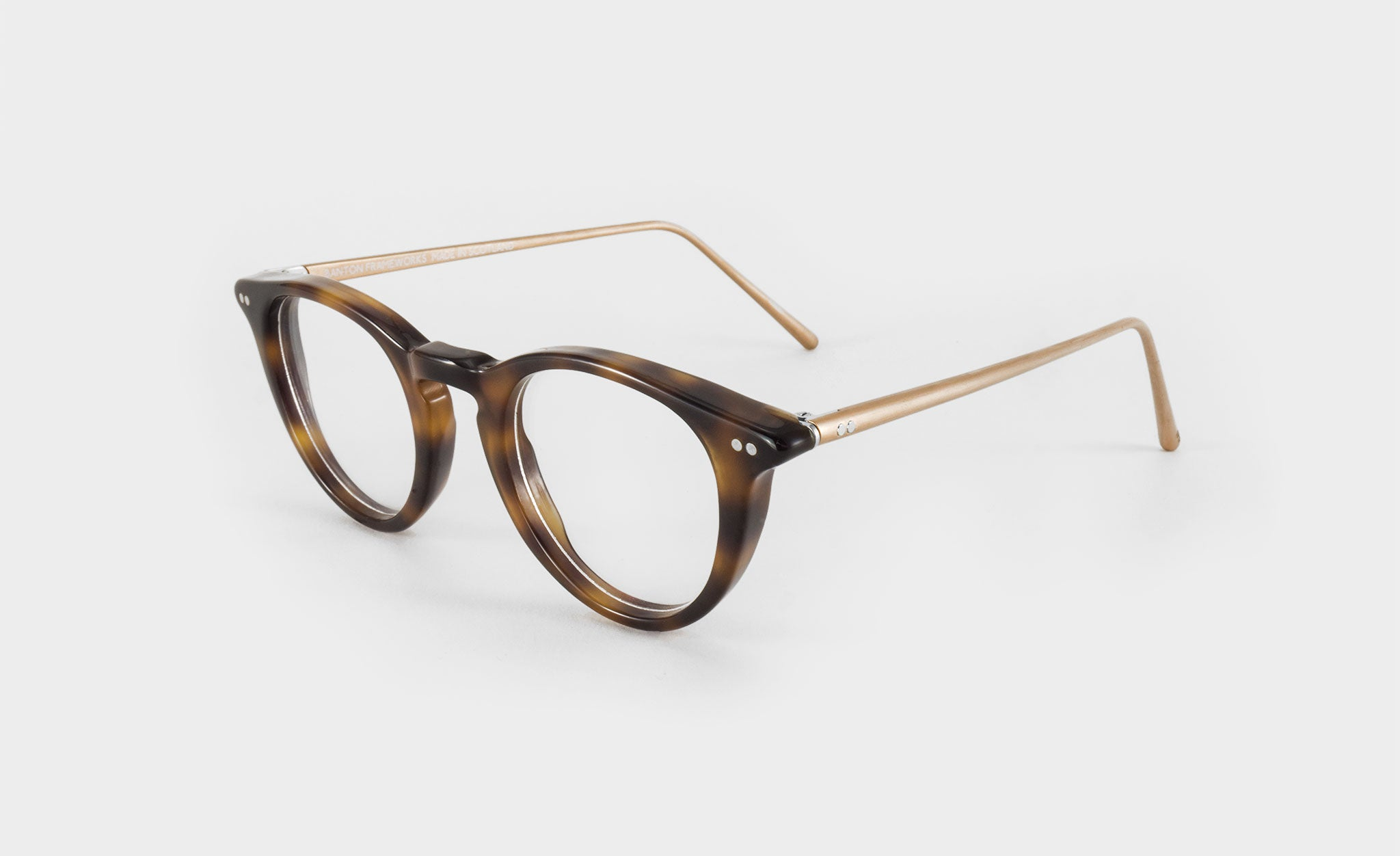 round tortoise shell glasses side view