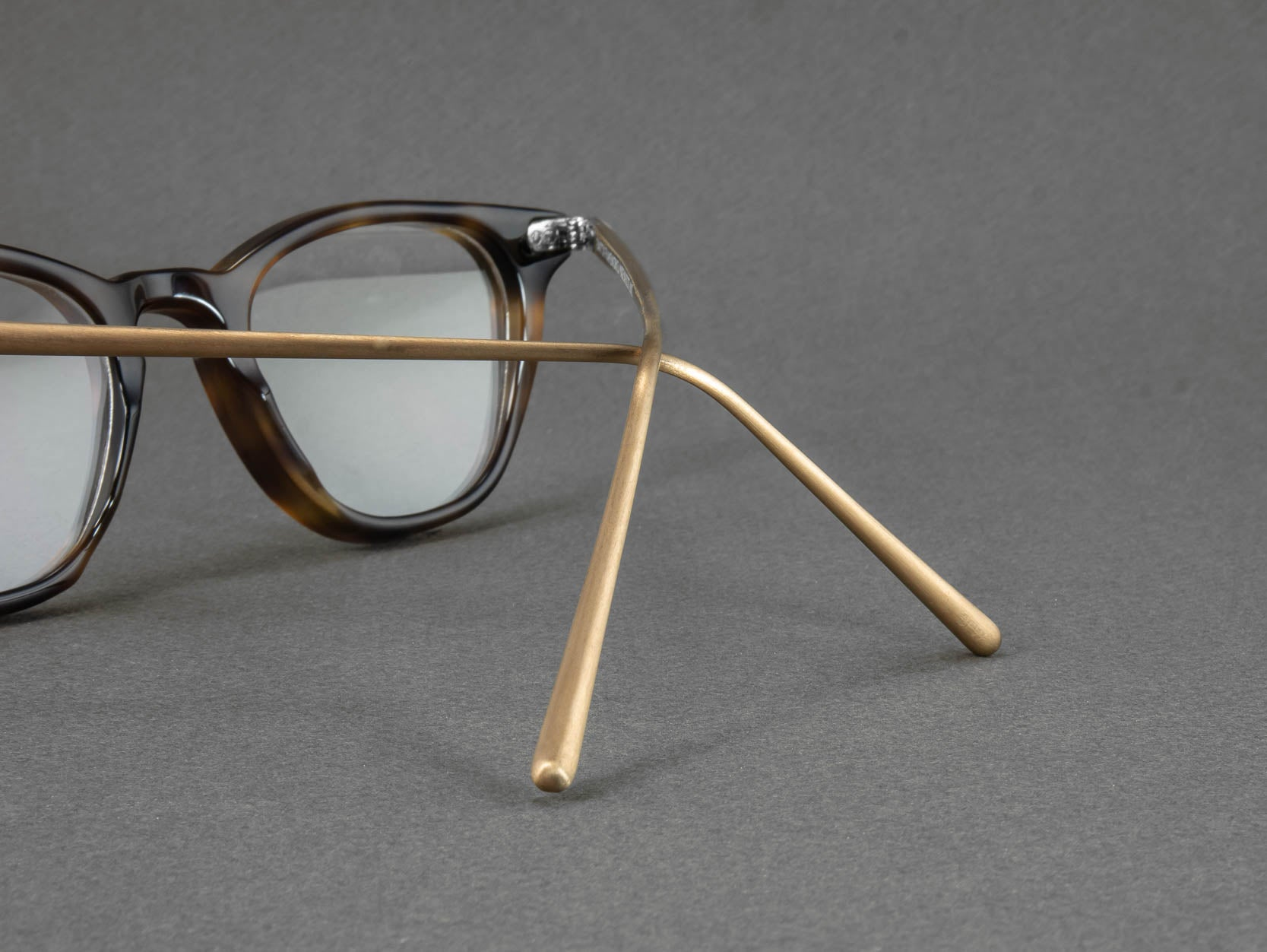 tortoiseshell glasses temple close up