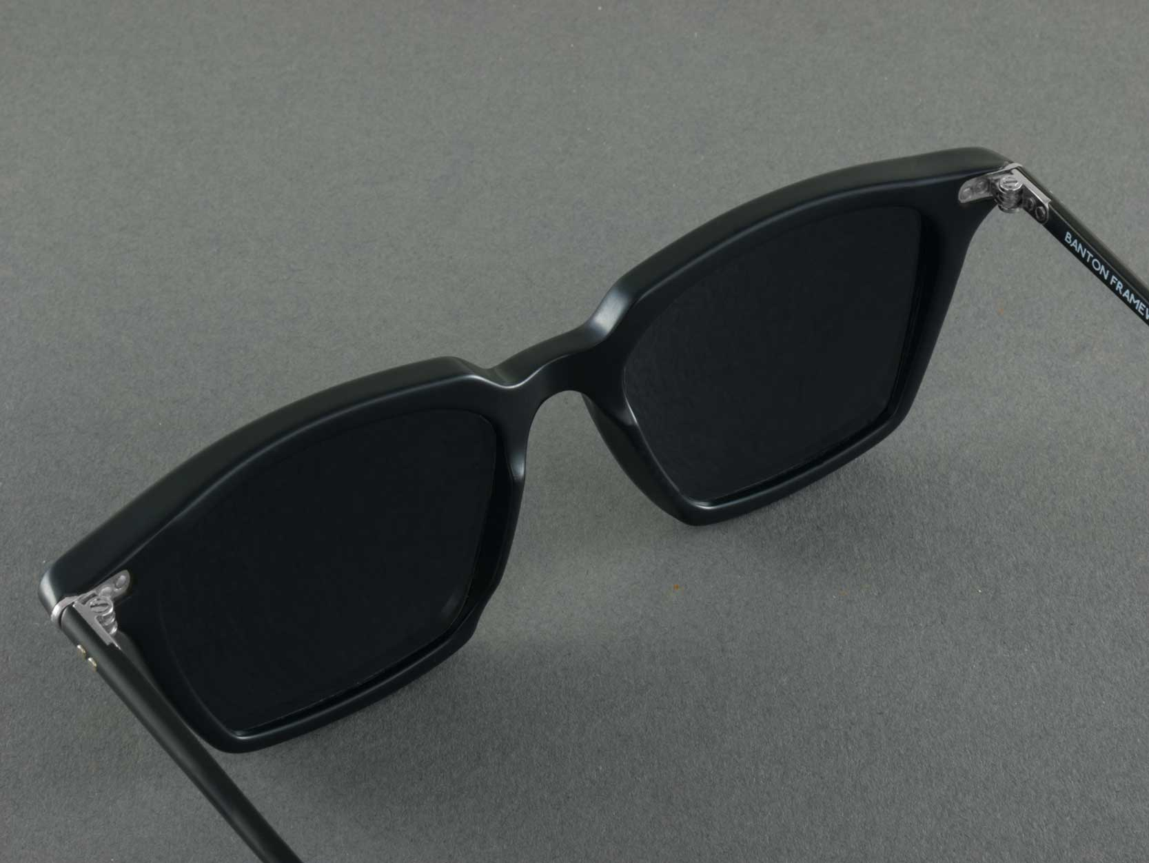 black square polarised sunglasses aerial view