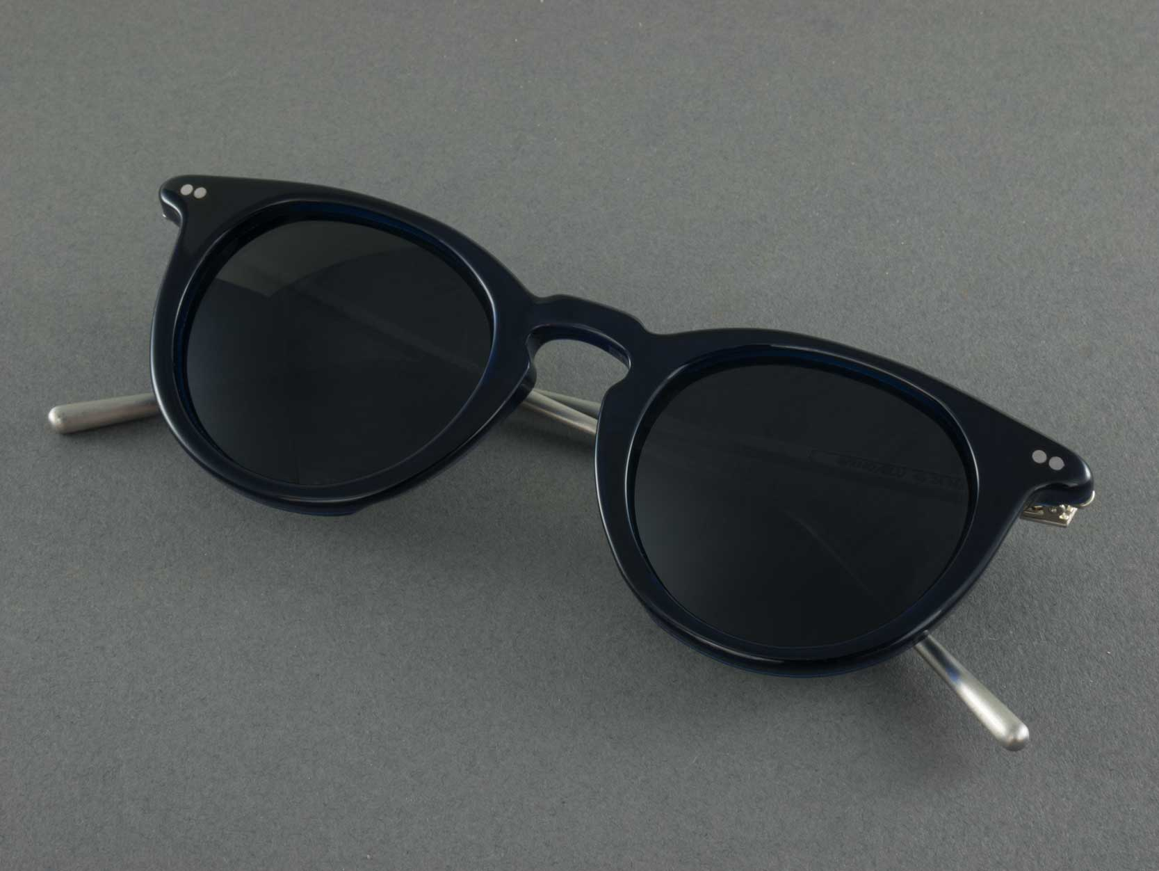 blue polarised sunglasses folded