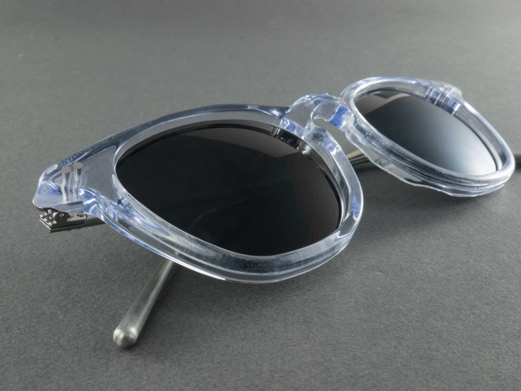clear frame polarised sunglasses close up
