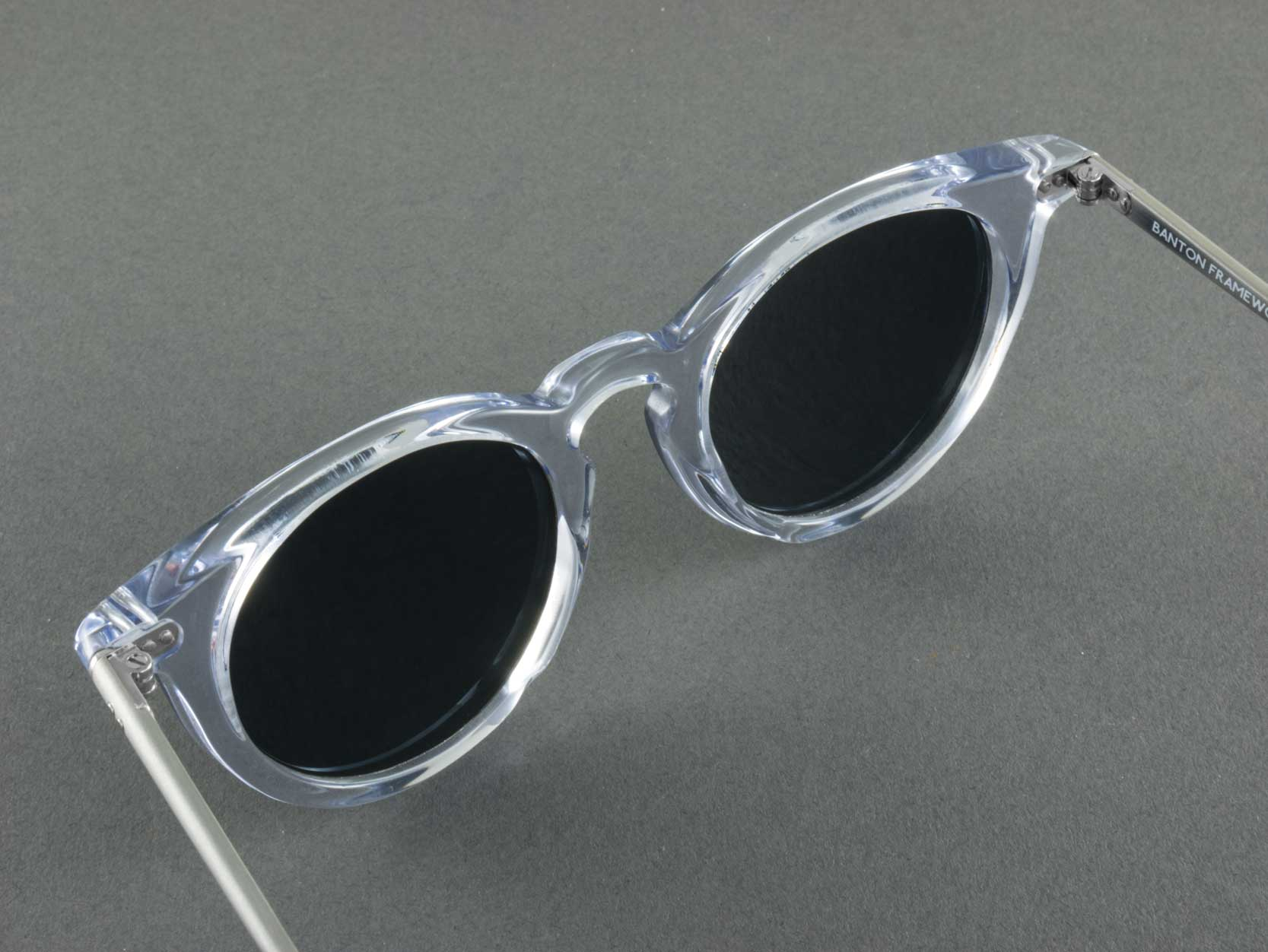 round clear frame polarised sunglasses aerial view