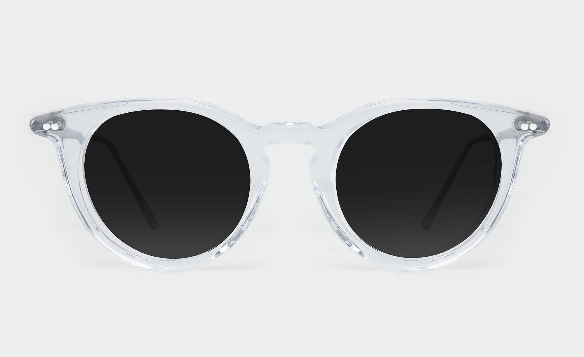 round clear frame polarised sunglasses