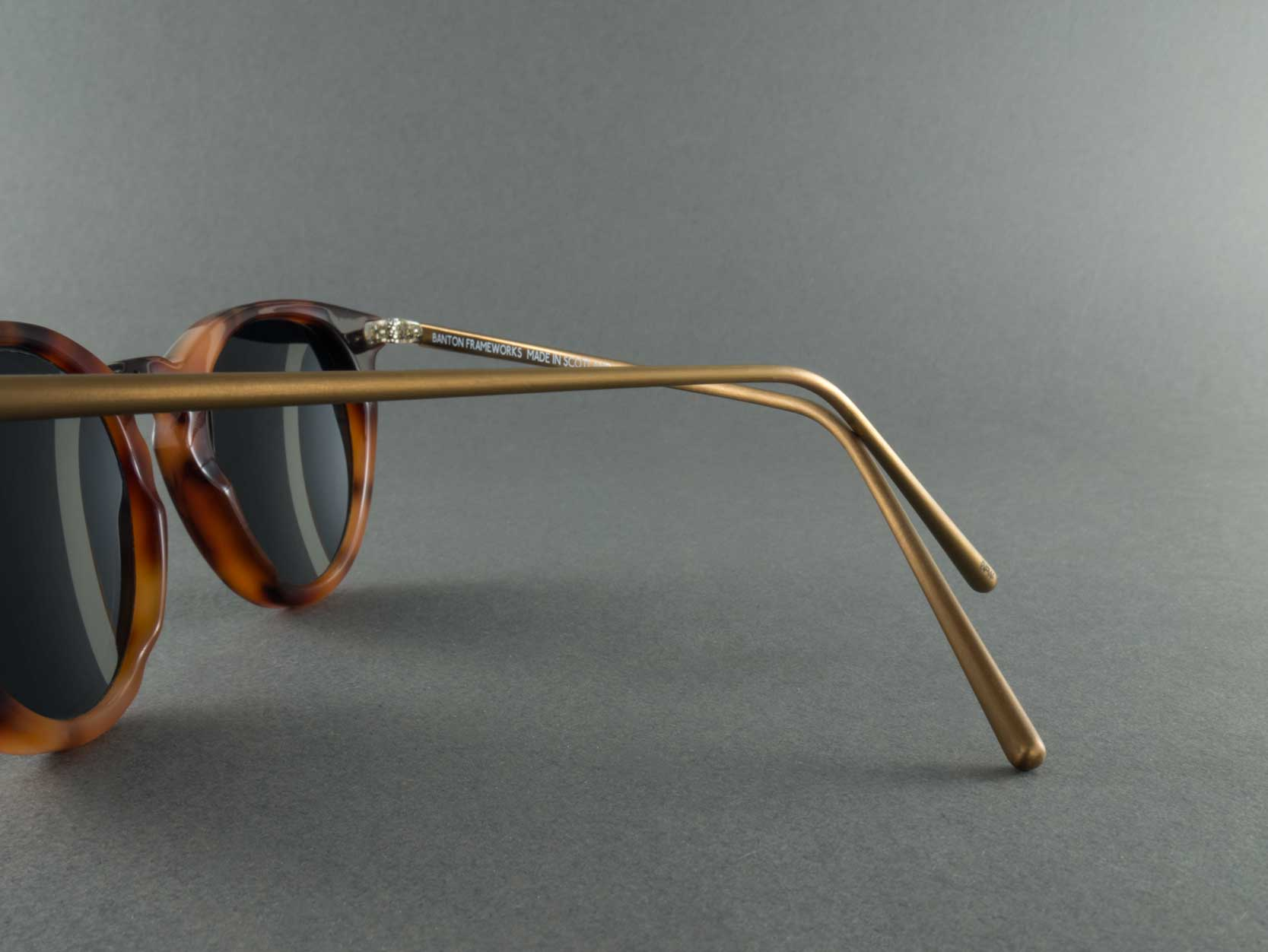 Round polarised sunglasses frame temple close up