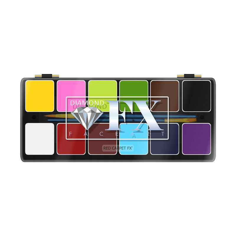 Diamond FX Face & Body Paint Essential 12 Colour Palette - Red Carpet FX - Professional Makeup