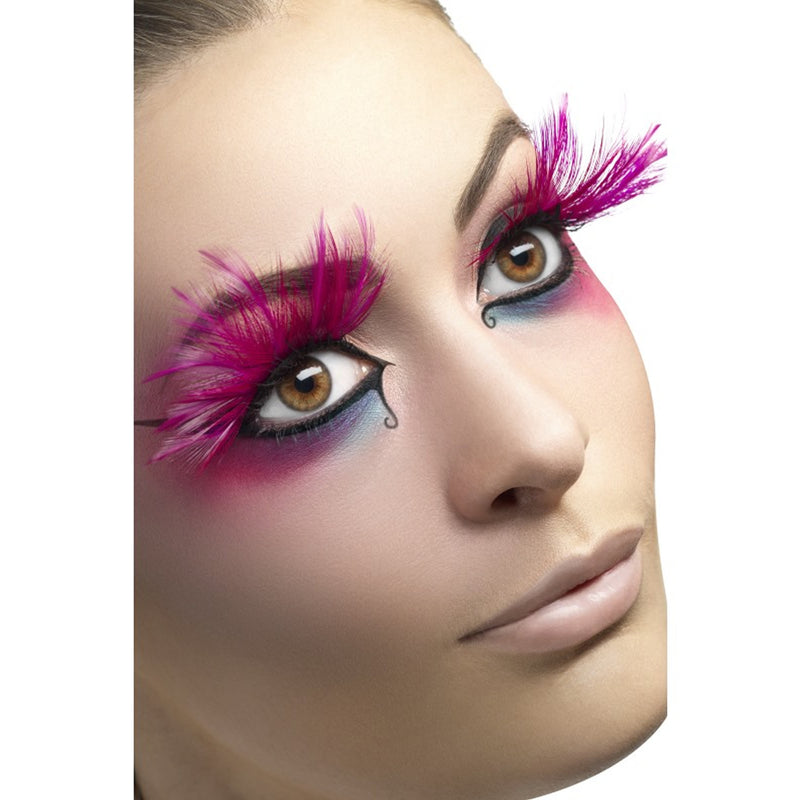 Fever False Eyelashes - Extravagant Pink Feather Plumes