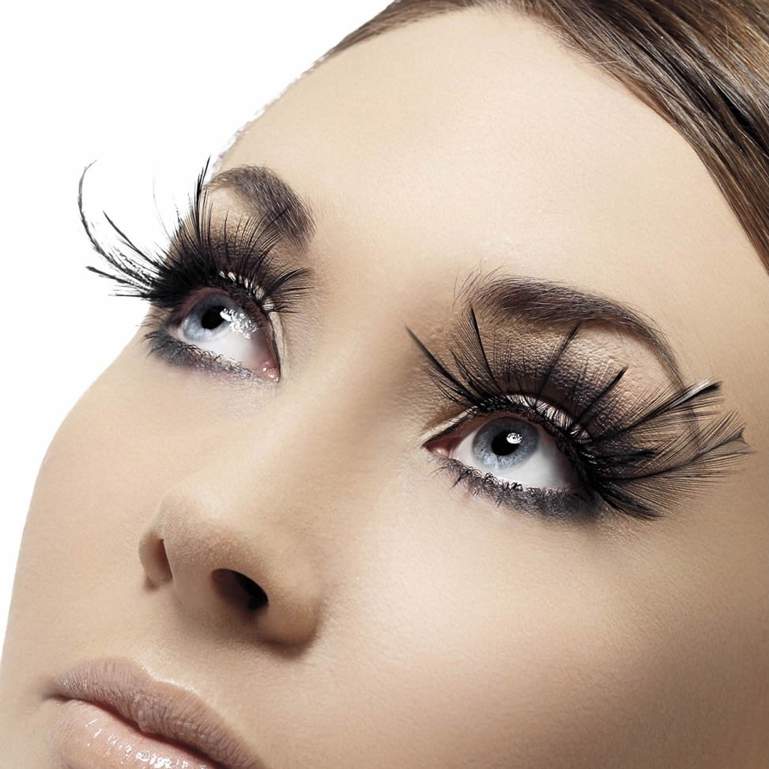 Fever False Eyelashes - Extravagant Black Feather Plumes