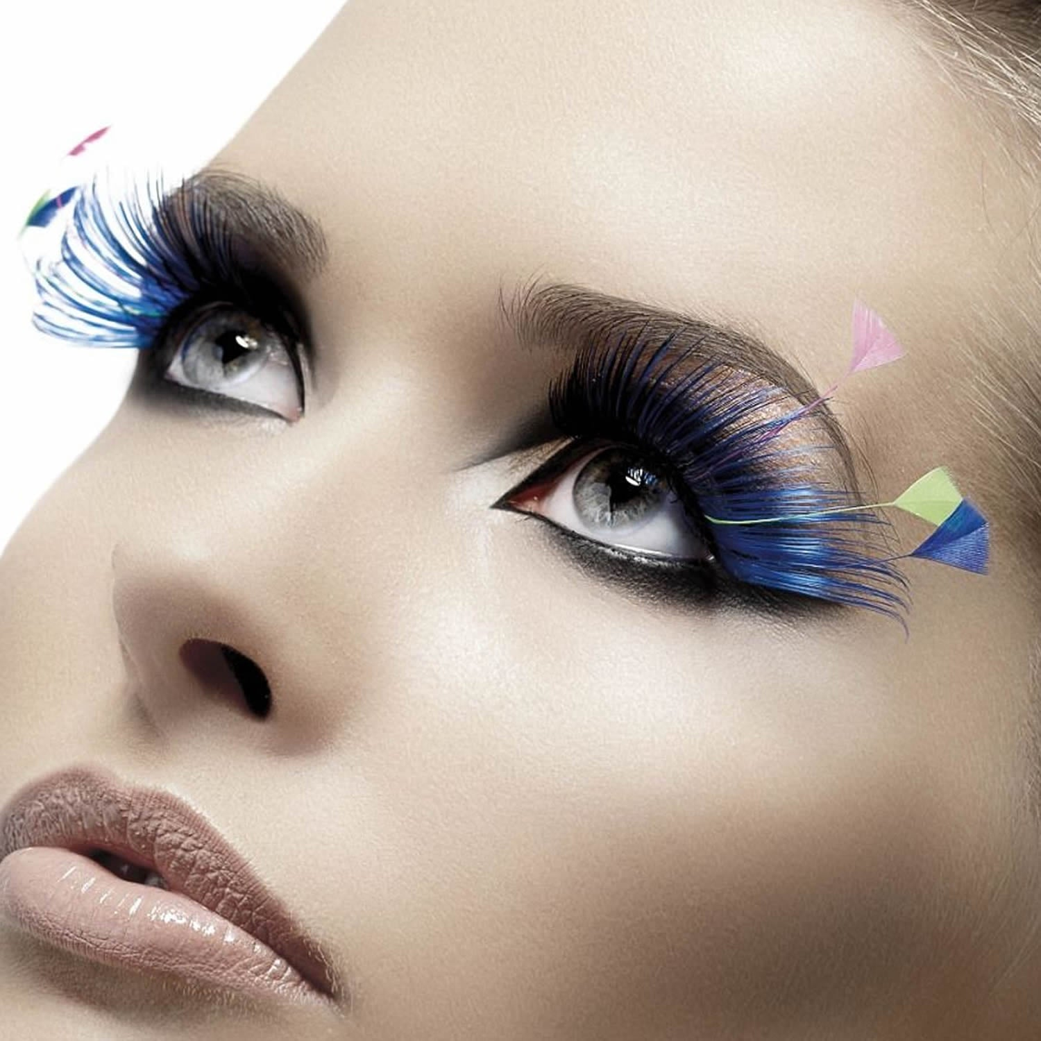 Fever False Eyelashes - Blue (w/ Feather Plumes) - Red Carpet FX - Professional Makeup