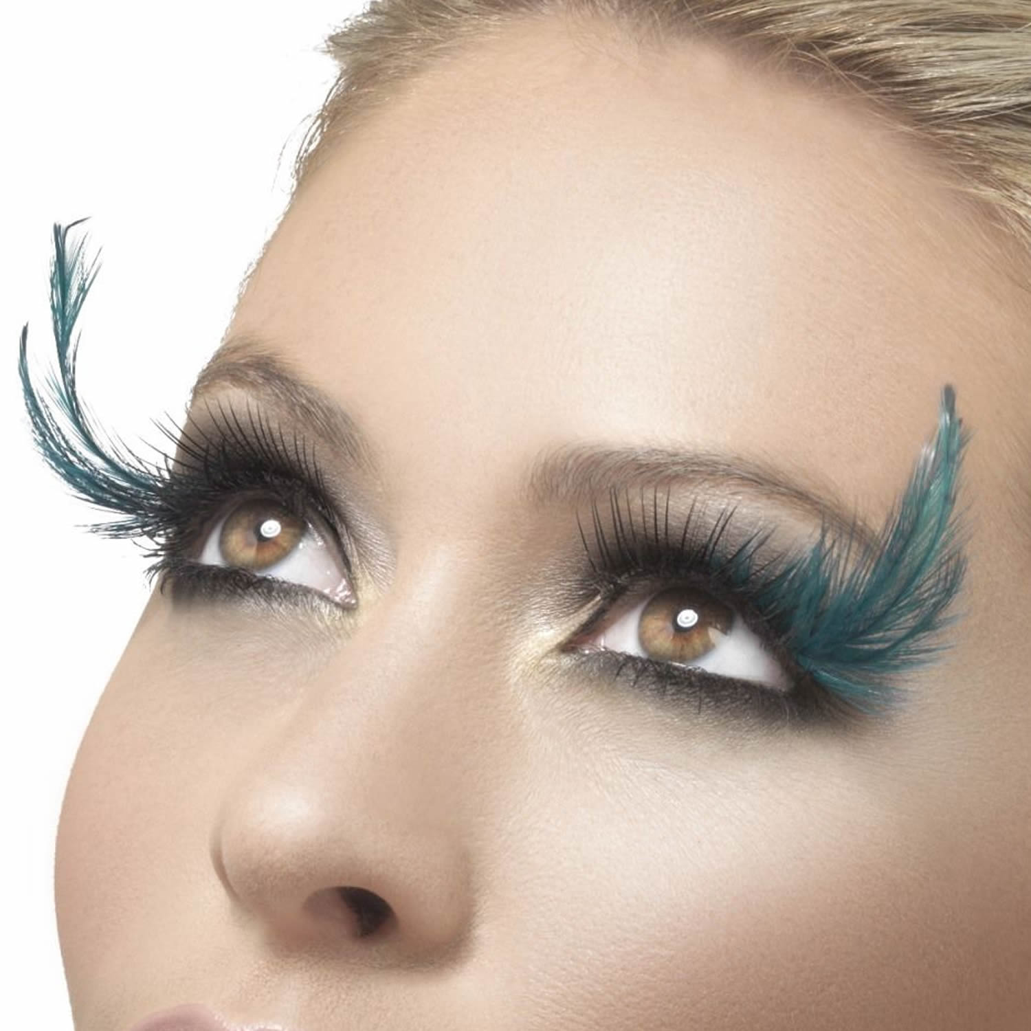 Fever False Eyelashes - Black with Teal Feather Plumes