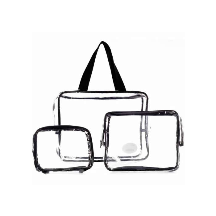 LaRoc 3 Piece Clear PVC Travel Bags