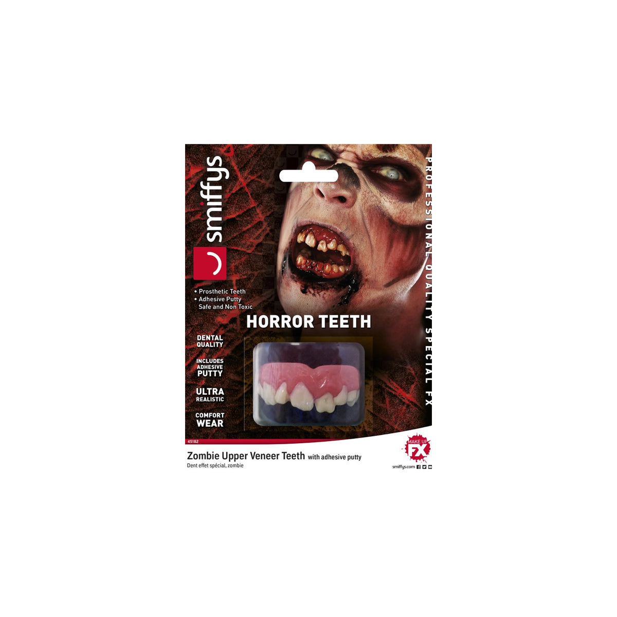 Smiffys Prosthetic Zombie Horror Teeth - Red Carpet FX - Professional Makeup