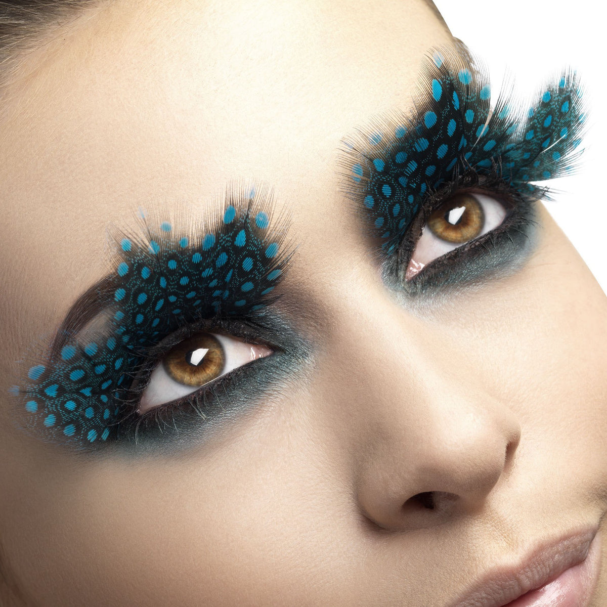 Fever False Eyelashes - Large Aqua Dot Feathers - Red Carpet FX - Professional Makeup
