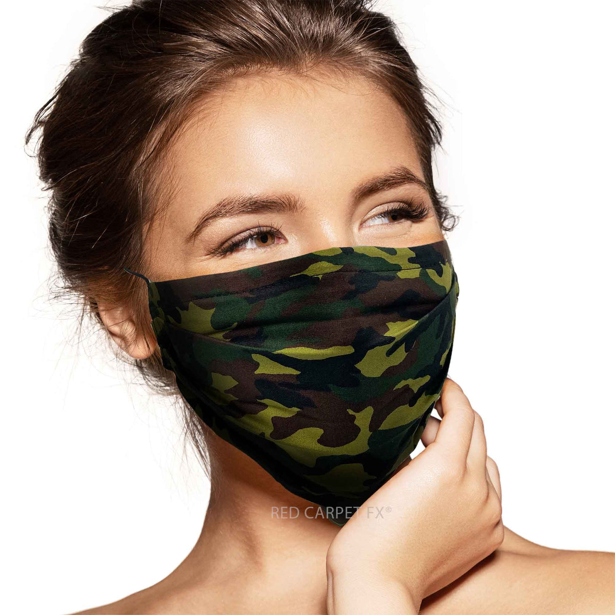 Pebbles Handmade Pleated Cotton Face Mask - Camo