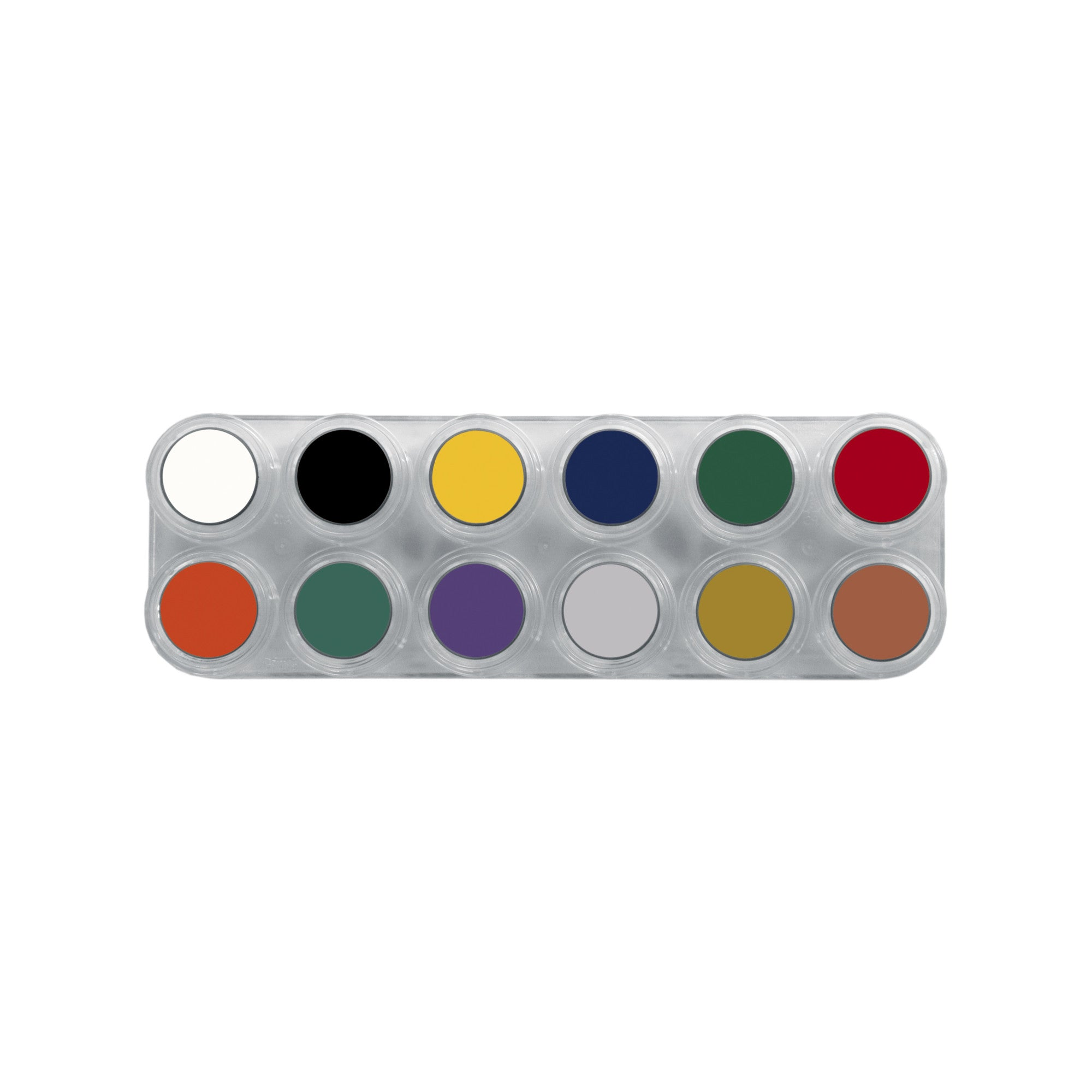 Grimas Pure Crème 12 Colour Face Paint  Palette - F - Red Carpet FX - Professional Makeup