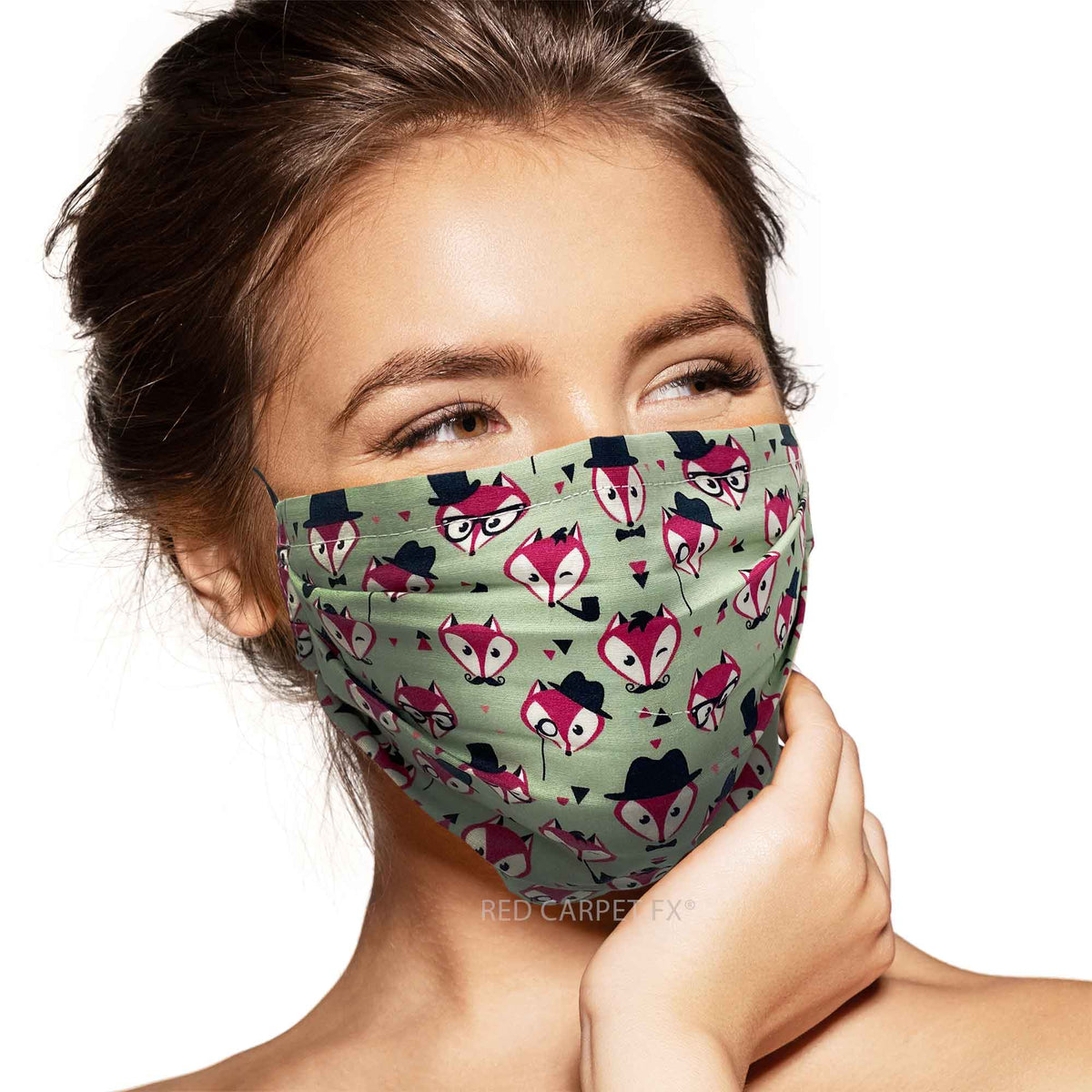 Pebbles Handmade Pleated Cotton Face Mask - Foxy