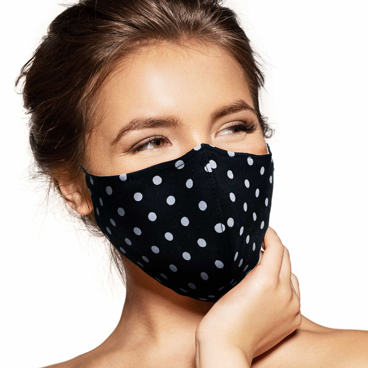 Pebbles Handmade Contoured Cotton Face Mask - Polka Dot