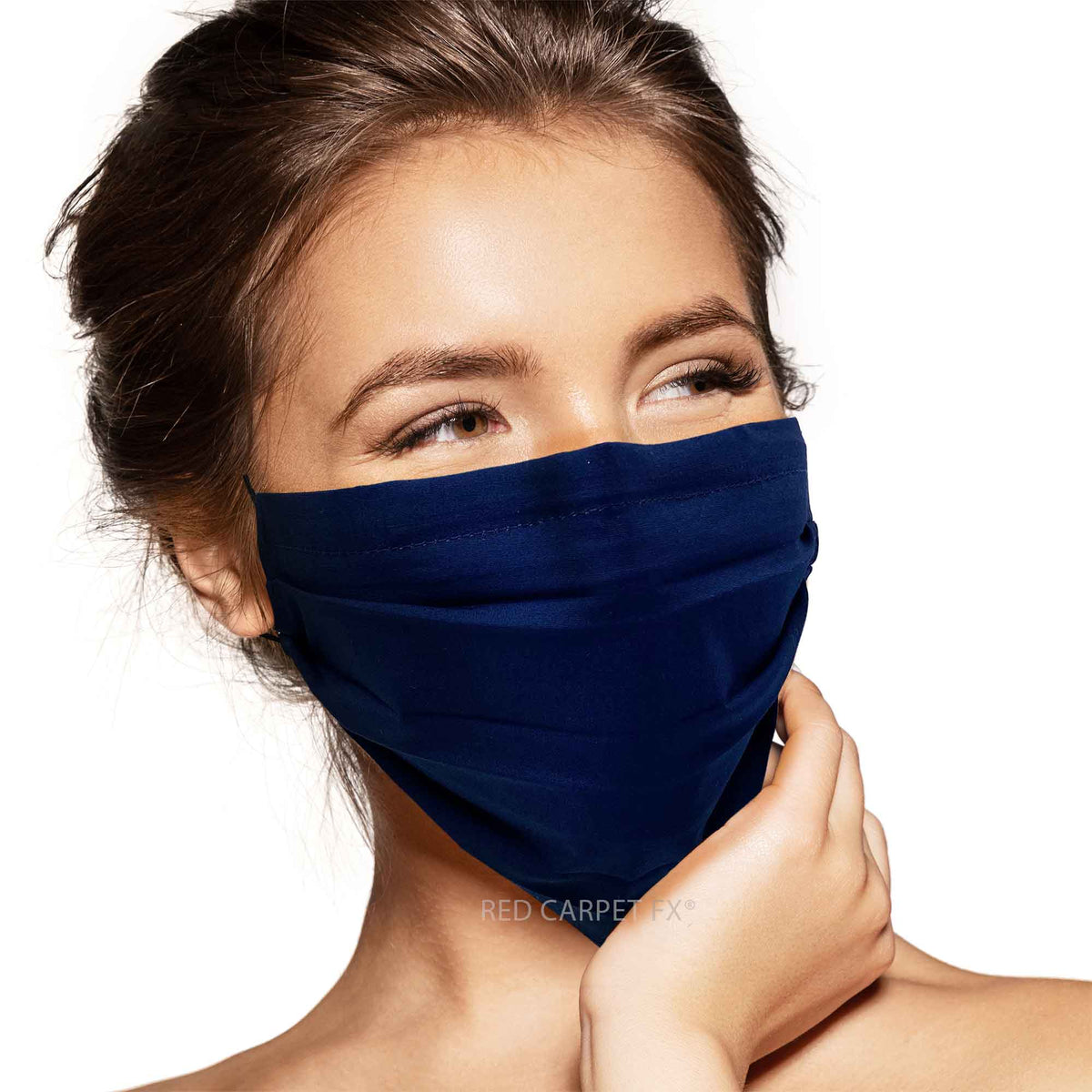 Pebbles Handmade Pleated Cotton Face Mask - Navy Blue