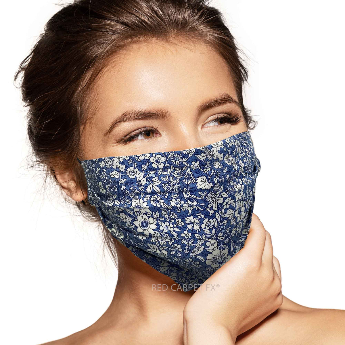 Pebbles Handmade Pleated Cotton Face Mask - Navy Floral