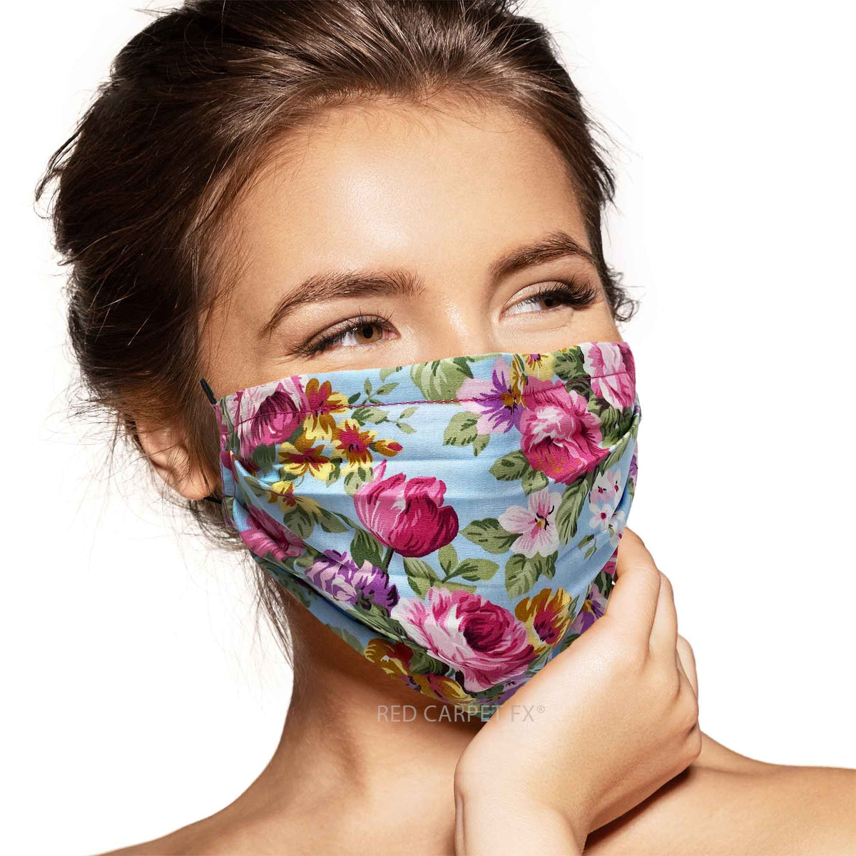 Pebbles Handmade 3 Layer Cotton Face Mask - Peonies