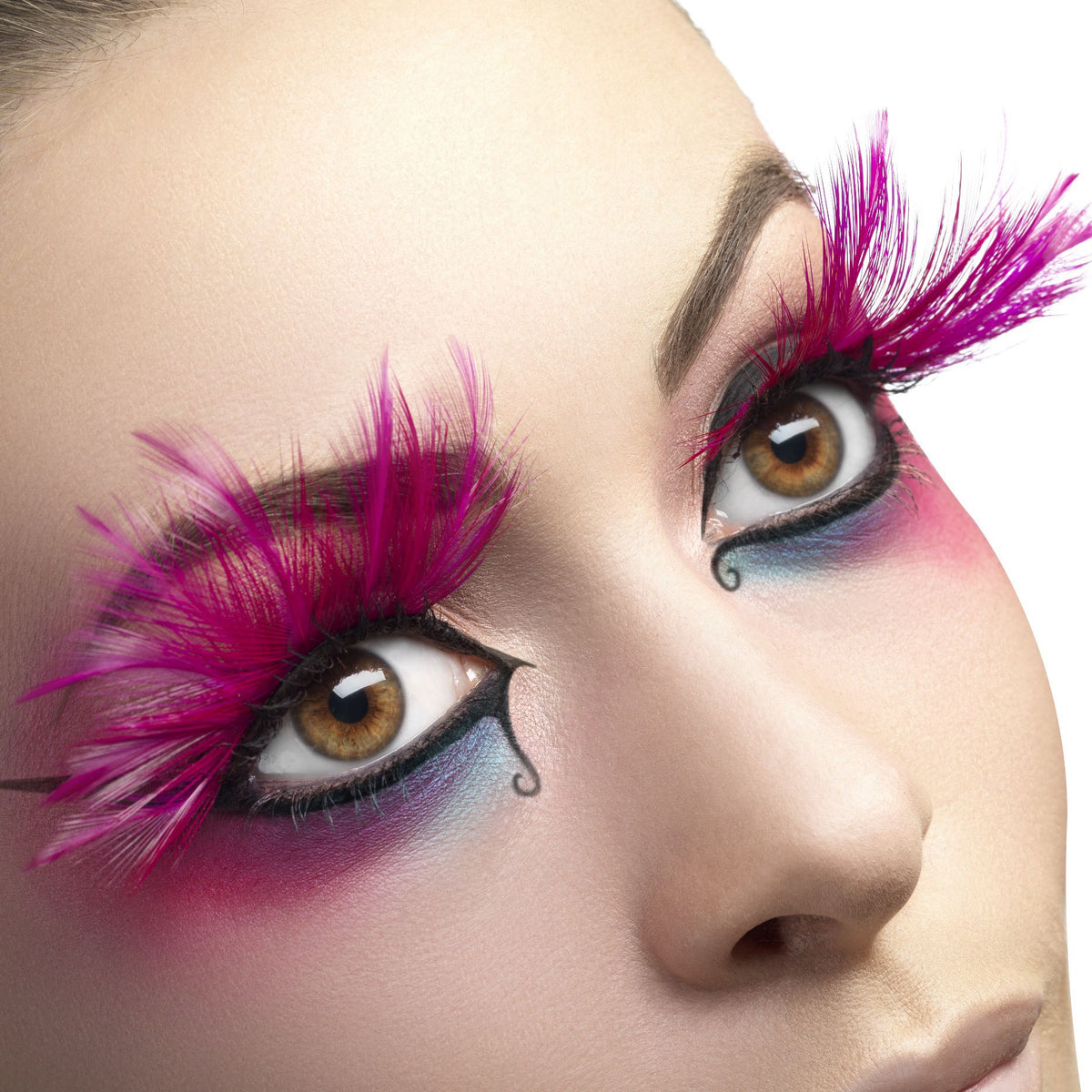 Fever False Eyelashes - Pink Feather Plumes - Red Carpet FX - Professional Makeup