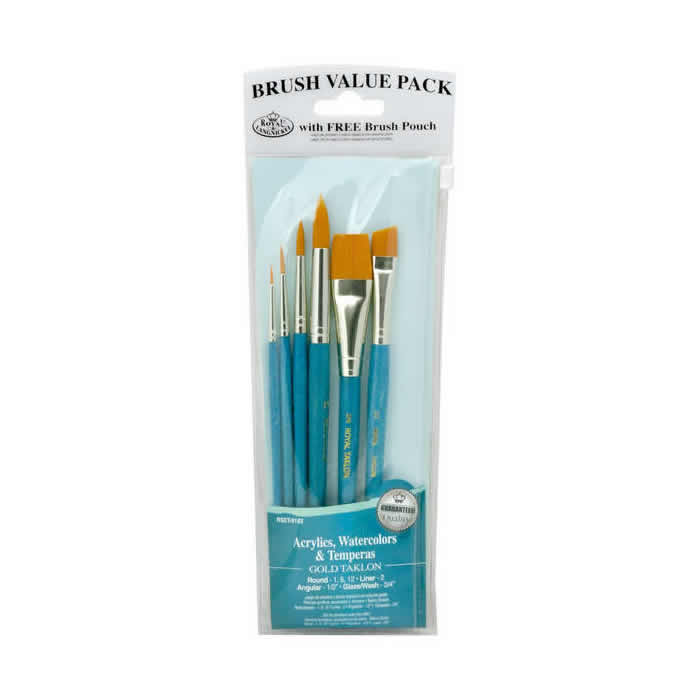 Royal & Langnickel Gold Taklon 6 Piece Brush Set