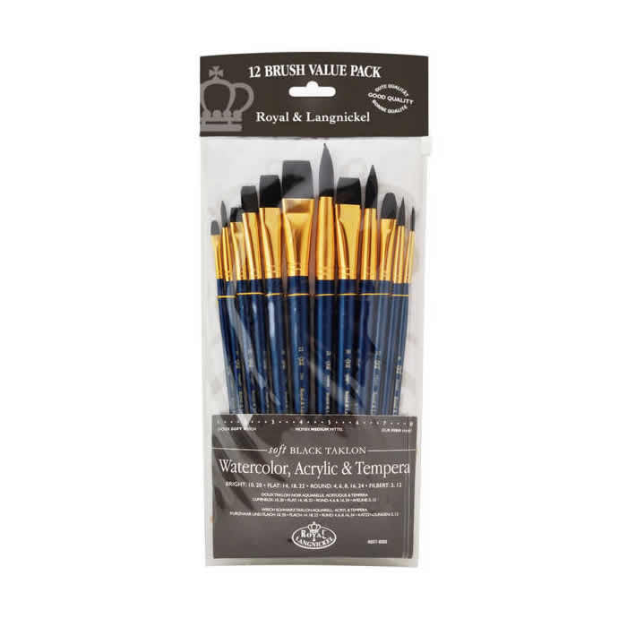 Royal & Langnickel Black Taklon 12 Peice Brush Set