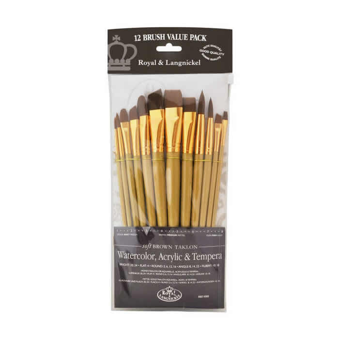 Royal & Langnickel Brown Taklon 12 Peice Brush Set