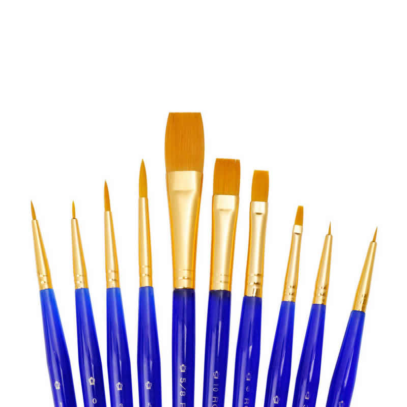 Royal & Langnickel Gold Taklon Super Value 10 Pack Brush Set