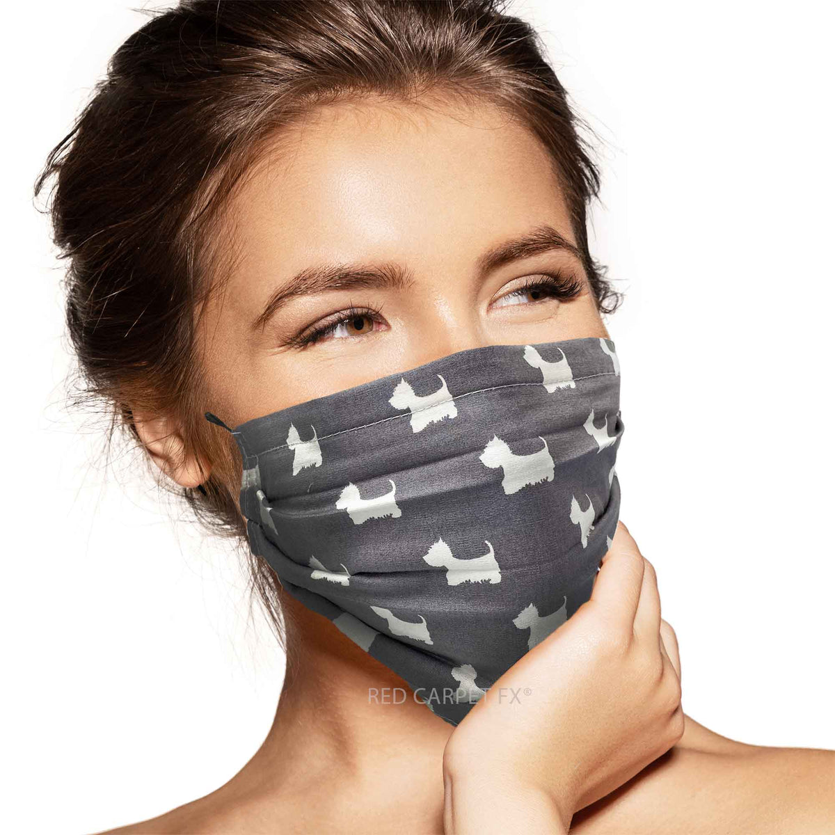 Pebbles Handmade 3 Layer Cotton Face Mask - Scottie Grey