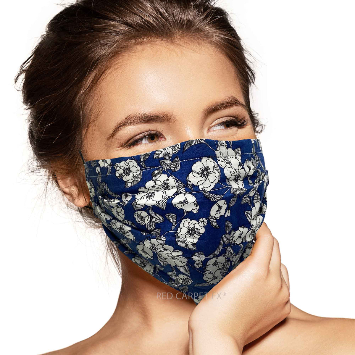 Pebbles Handmade Pleated Cotton Face Mask - Sketched Flowers on Blue