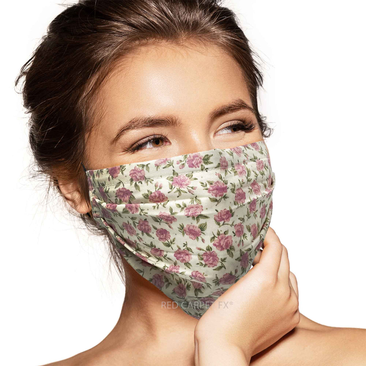 Pebbles Handmade Pleated Cotton Face Mask - Vintage Rose