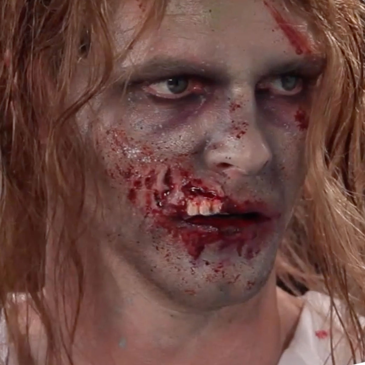 Smiffys Hyper-Realistic Water Transfer Wound - Zombie Exposed Teeth - Red Carpet FX - Professional Makeup