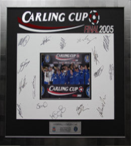 Chelsea FC Squad Signed Mount, Carling Cup Winning Team 2004/2005, Framed
