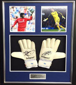 Chelsea FC Signed Gloves by Both Premier League Winning Goalkeepers 2014/2015, Framed