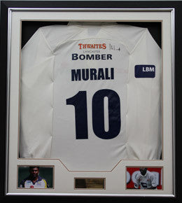 Cricket Memorabilia, Signed Match Worn Muttiah Muralitharan Shirt, Framed, Lancashire CCC