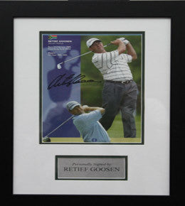 "Golf Memorabilia, Signed Retief Goosen, Framed, ""US Open Winner 2001, 2004"""