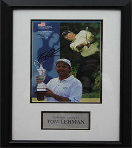 "Golf Memorabilia, Signed Tom Lehman Photo, Framed, ""The Open 1976 Winner"""