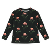 caroline bosmans rose printed t-shirt black, floral graphic prints tops shirts for kids fashion, new fall winter collections children's clothing at kodomo boston, free shipping